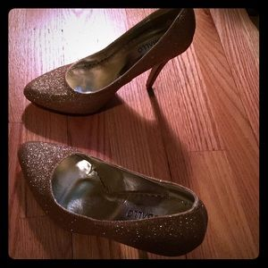 Gold glitter heels from Modcloth
