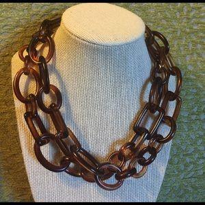 J. Crew Jewelry - Vintage J. Crew Tortoise Link resin necklace.