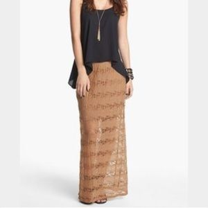 Lily White Dresses & Skirts - Camel Lace Maxi Skirt