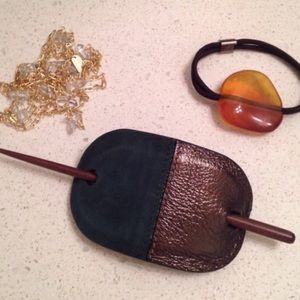 Colette Malouf Accessories - Colette Malouf Leather & Suede Hair Pin