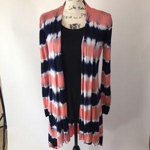 Belldini Sweaters - Belldini Long Sleeve Tie Dye Colorblock Cardigan