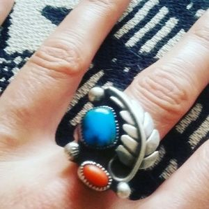 Vintage Sterling Turquoise and Coral Ring