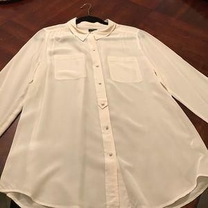 JCrew white/cream button down blouse