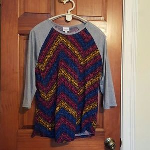 Lularoe Randy 2X - multi color zigzag zag pattern