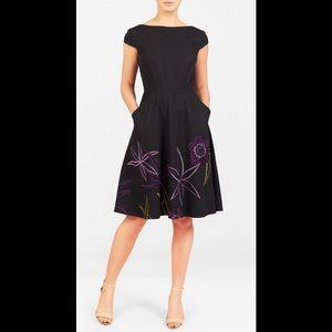 New Eshakti Black Floral Fit & Flare Dress L 14