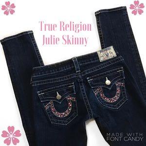 True Religion Denim - True Religion Julie Skinny Embellished Jeans Sz 29
