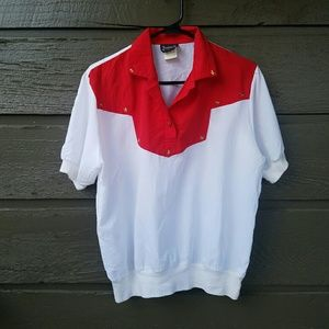 Vintage Tops - Vintage Red and White Star Windbreaker Style Top