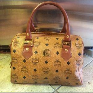 MCM Handbags - MCM Brown Leather Boston Bag Heritage Satchel