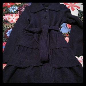 Dark blue felted tiered cardigan by Cynthia Rowley