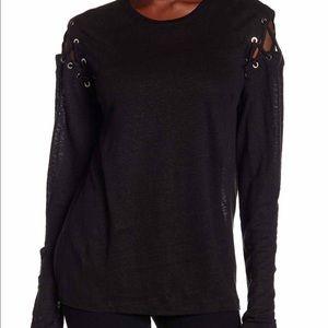 Dress Forum  Tops - Cold Shoulder Lace Up Linen Blouse
