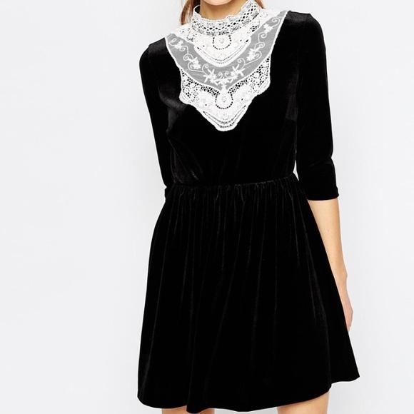 Asos Dresses Black Velvet White Lace Skater Dress 12 Poshmark