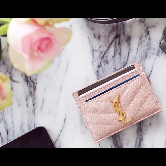 798c5bb0 MONOGRAM SAINT LAURENT CREDIT CARD CASE PALE PINK