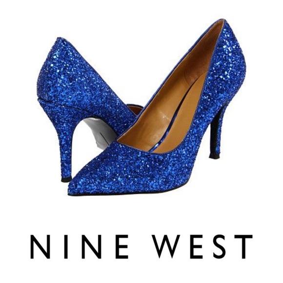 a4ee849573ec Nine West Shoes | New Flax Blue Electraip Glitter Pumps | Poshmark