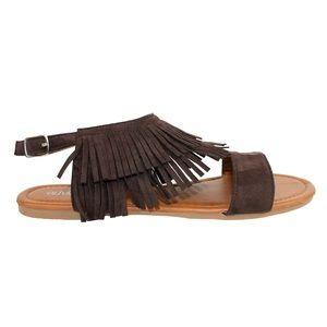 SHOEROOM21 boutique Shoes - Ladies flat sandal with ankle fringe. Cognac
