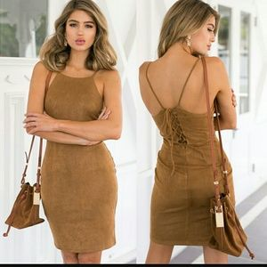 Brandy Melville Dresses & Skirts - Suede lace-up bodycon dress