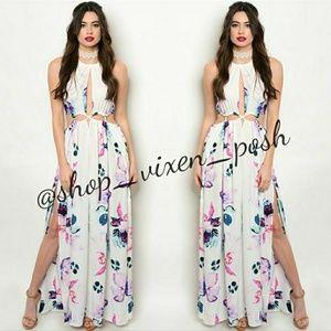 Nwt blue high slit drop back maxi dress from lisa s closet on poshmark