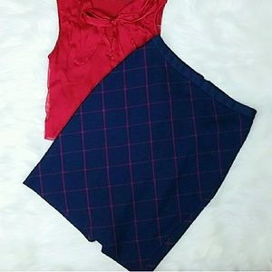 The Limited Dresses & Skirts - Navy and Burgundy Plaid Pencil Skirt