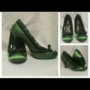 Funtasma Shoes - Funtasma green satin heels