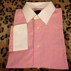 David Donahue Other - David Donahue Pink Gingham Shirt 16 34/35