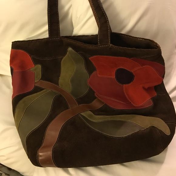 Coach Handbags - Coach Ltd Ed DK Brown Suede Floral Poppy 4 Peace a9d97c7fb0081