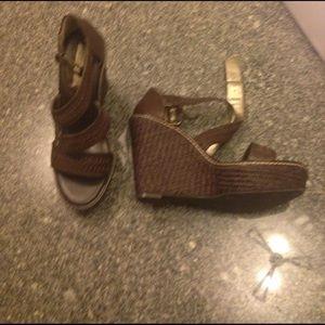 Banana Republic Shoes - Banana republic wedge sandals 8 brown