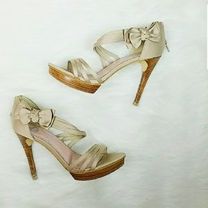 Beige Fabric Bow Sandals