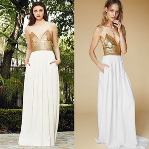 Rachel Zoe Dresses & Skirts - Rachel Zoe White & gold sequin Gown NWT sz 0