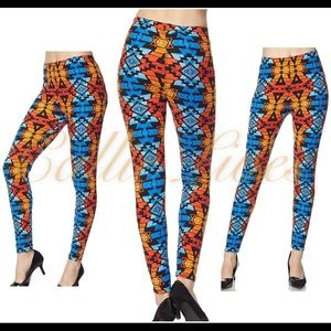 Callie Lives Pants - COMING SOON: Blue Orange Tribal One Size Leggings