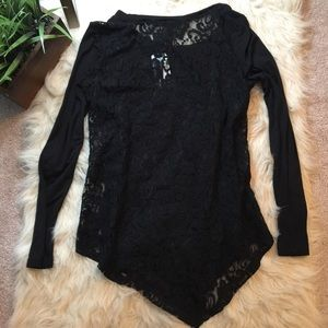 Grace Elements Tops - black lacey top
