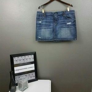 LOFT Dresses & Skirts - {LOFT} Distressed Denim Mini Skirt Size 14