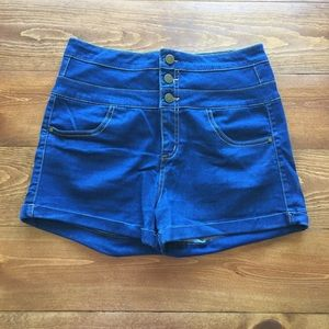 Tinseltown Pants - High waisted blue jean shorts
