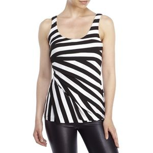 Philosophy Tops - Philosophy M Tiered Striped Black White Tank Top