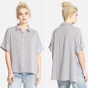 Leith Tops - Leith Oversized Button Front Striped Shirt Medium