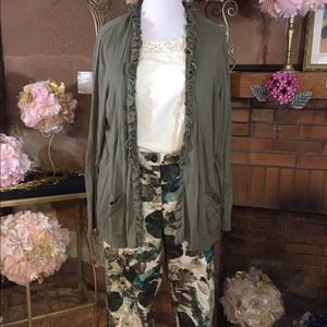 Larry Levine Pants - Floral trouser and cardigan combination