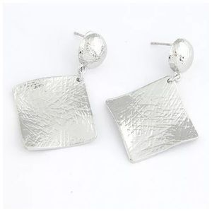 Jewelry - Silver Square Textured Dangle Earrings ED2