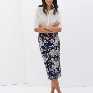 Zara Printed Midi Pencil Skirt