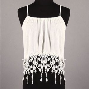 Tops - NWT Lace Crochet Trim Festival Boho Top