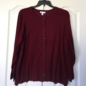Charter Club Sweaters - Maroon cardigan with black polka dots