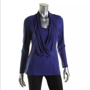 ECI Tops - ECI Blue Surplice Drapery long sleeves Pullover S