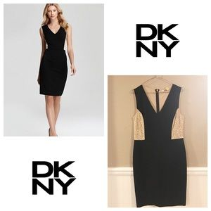 DKNY Dresses & Skirts - DKNY little black dress with nude lace cut outs