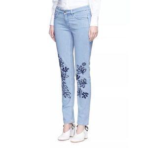 Victoria Beckham Pants - $590 Victoria Beckham Leaf Embroidered SkinnyJeans