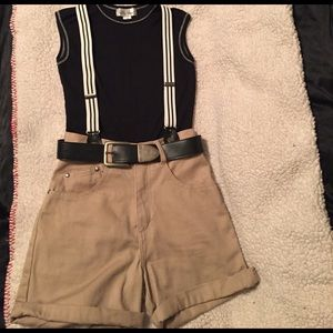 She Said Pants - Denim Shorts, adjustable striped suspenders & belt