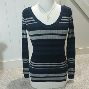 10 Crosby Derek Lam Tops - Striped Fitted Long Sleeve Shirt