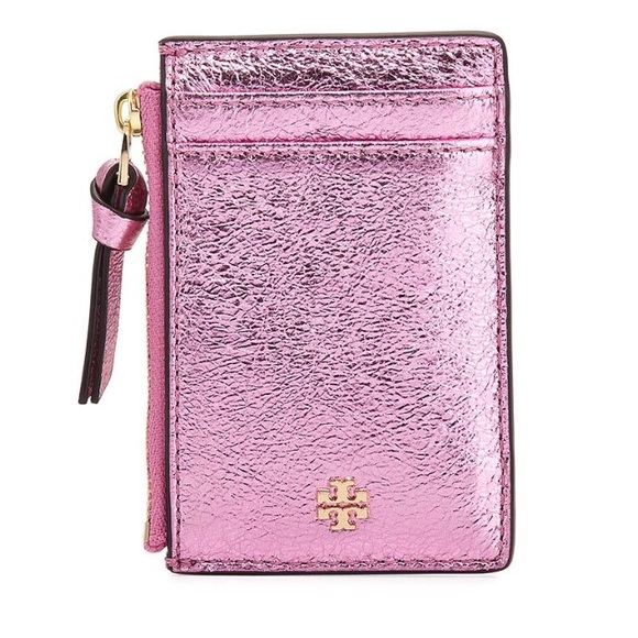 151742a97712 Tory Burch Crinkled Metallic Leather Zip Card Case