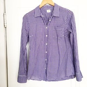J. Crew Tops - J. Crew Purple And White Checkered Shirt