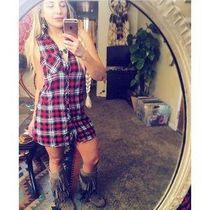 sleeveless flannel plaid dress