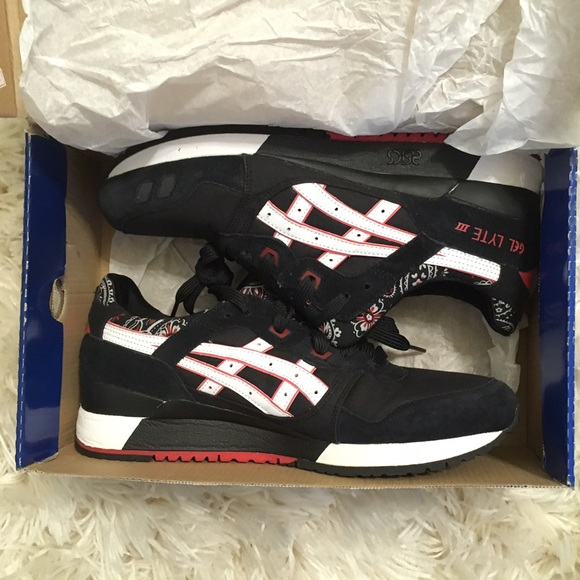 outlet store 1cdb0 ff18c Asics Gel-Lyte III Black Red Bandana Men's 11 NWT