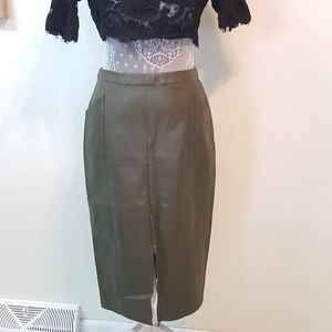 who what wear Dresses & Skirts - WHO WHAT WEAR faux leather green skirt