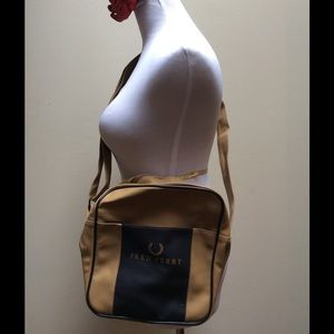 Fred Perry Handbags - Fred Perry Brown Beige Square Shoulder Tote Bag