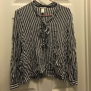 H&M striped bow top